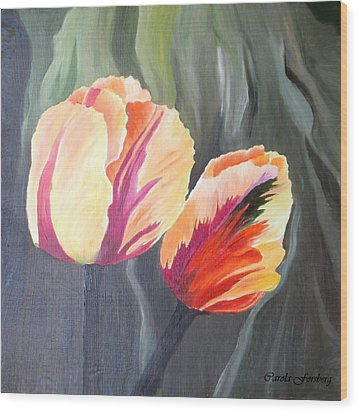 Yellow Tulips Wood Print by Carola Ann-Margret Forsberg