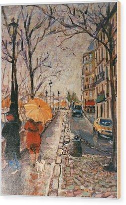 Yellow Umbrella Wood Print by Walter Casaravilla