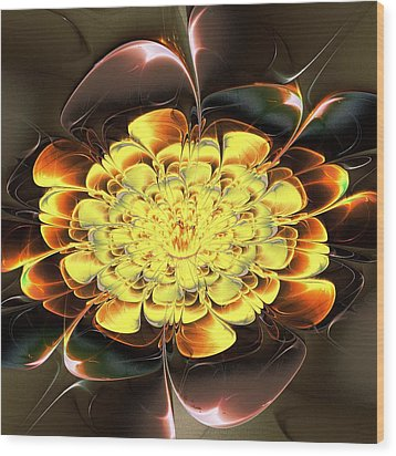 Yellow Water Lily Wood Print by Anastasiya Malakhova