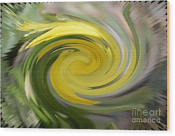 Wood Print featuring the digital art Yellow Whirlpool by Luther Fine Art
