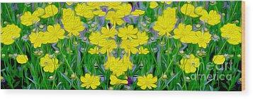 Yellow Wild Flowers Wood Print by Jon Neidert