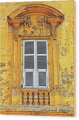 Wood Print featuring the photograph Yellow Window Nice France by Dave Mills