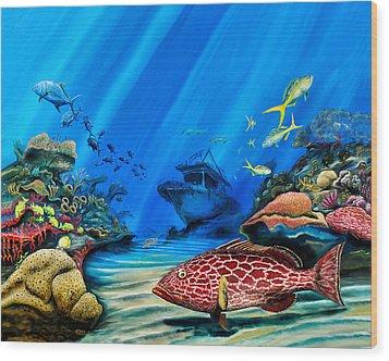 Yellowfin Grouper Wreck Wood Print