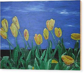 Yellowred Tulips Wood Print