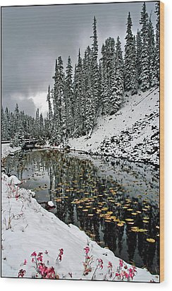Yellowstone Early Snow Wood Print