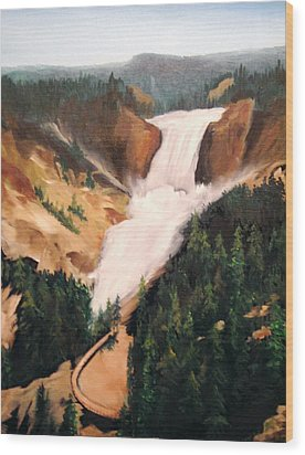 Wood Print featuring the painting Yellowstone by Ellen Canfield