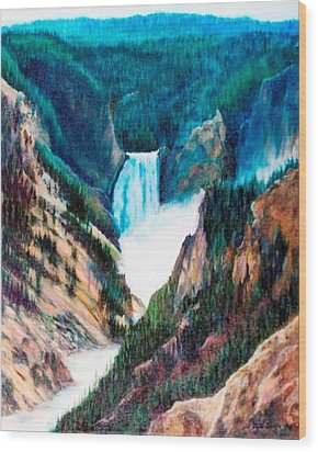 Yellowstone Falls Wood Print by Patti Gordon