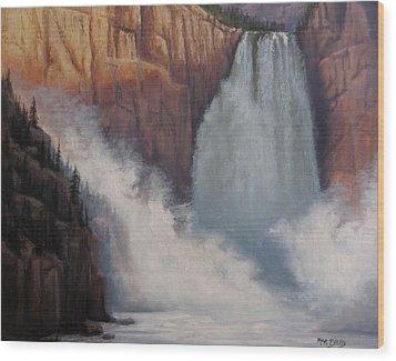 Yellowstone Falls Thunder Wood Print by Mar Evers
