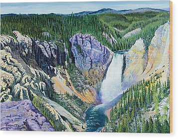 Yellowstone Falls Wood Print by Timithy L Gordon