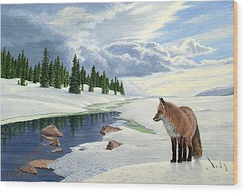 Yellowstone Fox Wood Print