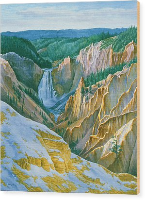 Yellowstone Grand Canyon - November Wood Print by Paul Krapf