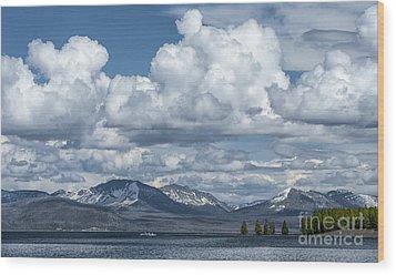 Yellowstone Lake Cloudscape Wood Print by Sandra Bronstein