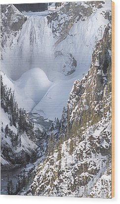 Yellowstone -  Lower Falls In Winter Wood Print by Sandra Bronstein