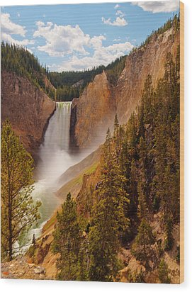 Yellowstone River - Lower Falls Wood Print by Phil Stone