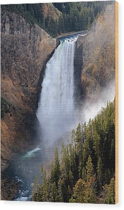 Wood Print featuring the photograph Lower Yellowstone Falls by Athena Mckinzie