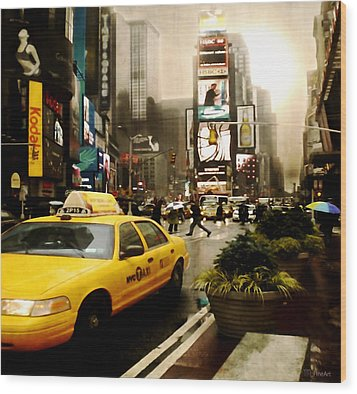 Yelow Cab At Time Square New York Wood Print by Yvon van der Wijk