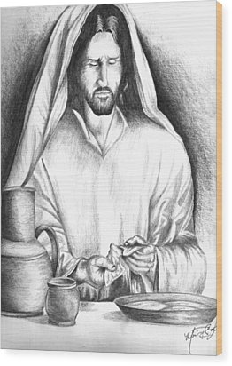 Yeshua Breaking Bread Wood Print by Marvin Barham