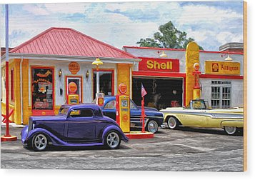 Yesterday's Shell Station Wood Print by Michael Pickett