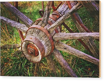 Yesterday's Wheel Wood Print by Marty Koch