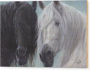 Yin-yang Horses  Wood Print