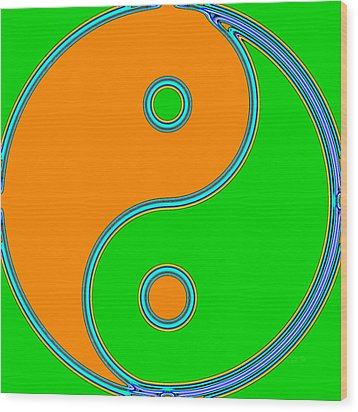 Yin Yang Orange Green Pop Art Wood Print