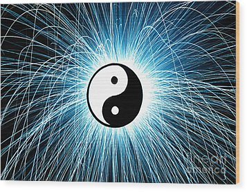Yin Yang Wood Print by Tim Gainey