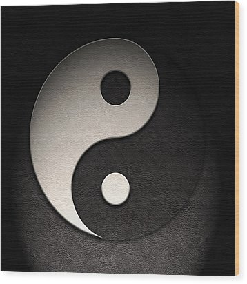 Wood Print featuring the digital art Yin Yang Symbol Leather Texture by Brian Carson