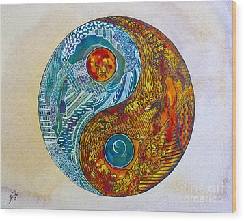 Wood Print featuring the painting Yinyang  by Suzette Kallen