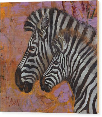 Yipes Stripes Wood Print by Pattie Wall