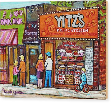 Yitzs Deli Toronto Restaurants Cafe Scenes Paintings Of Toronto Landmark City Scenes Carole Spandau  Wood Print by Carole Spandau