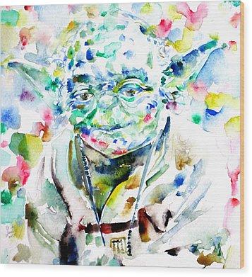 Yoda Watercolor Portrait.1 Wood Print