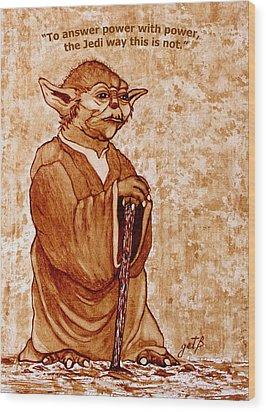 Wood Print featuring the painting Yoda Wisdom Original Coffee Painting by Georgeta Blanaru