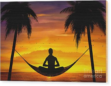 Yoga At Sunset Wood Print by Bedros Awak
