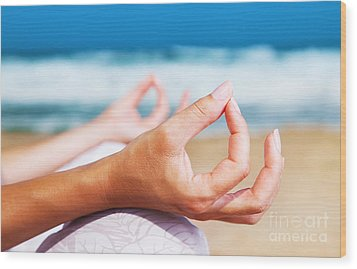 Yoga Meditation On The Beach Wood Print
