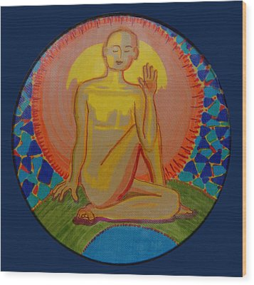Yoga Seated Twist Wood Print by Peg Toliver
