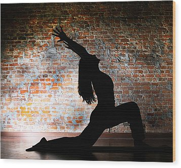 Yoga Silhouette 2 Wood Print by Shannon Beck-Coatney