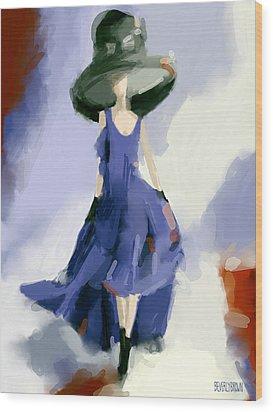 Yohji Yamamoto Fashion Illustration Art Print Wood Print by Beverly Brown