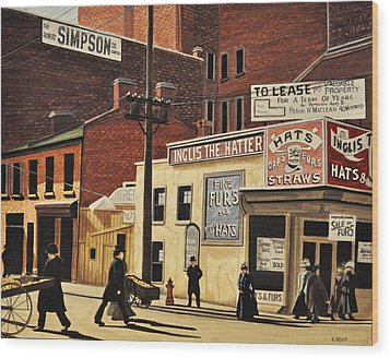 Wood Print featuring the painting Yonge And Richmond Streets 1899 by Kenneth M  Kirsch