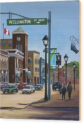 Wood Print featuring the painting Yonge And Wellington South Side    by Margit Sampogna