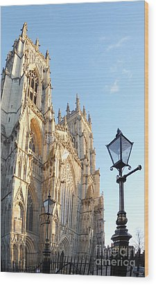 York Minster With Lampost Wood Print by Neil Finnemore