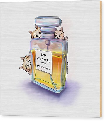Yorkie Chanel Crazies Wood Print
