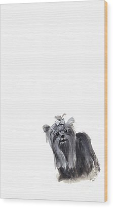 Yorkshire Terrier Wood Print by Barbara Marcus