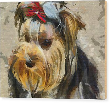 Wood Print featuring the painting Yorkshire Terrier by Georgi Dimitrov
