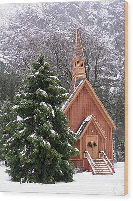Yosemite Chapel In Winter Wood Print by Kevin Desrosiers