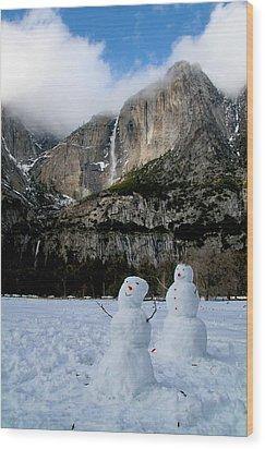 Yosemite Falls Snowmen Wood Print by Patricia Sanders