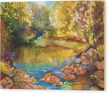 Yosemite Golden Trees On Still Waters Wood Print by Therese Fowler-Bailey