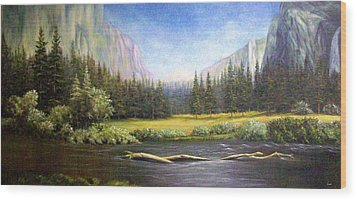 Wood Print featuring the painting Yosemite by Loxi Sibley