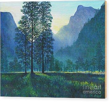Yosemite Morning  Wood Print by Lou Ann Bagnall