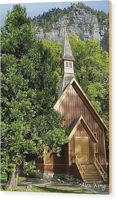Wood Print featuring the photograph Yosemite Valley Chapel by Alex King