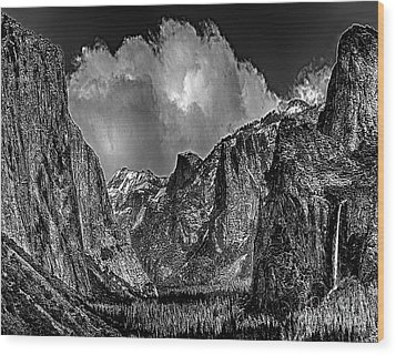 Yosemite Valley From Tunnel Wood Print by Bob and Nadine Johnston